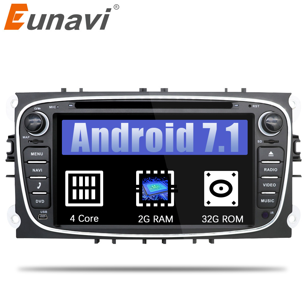 Eunavi 2 din Android 7.1 Quad Core Car DVD Player GPS Navi for Ford Focus Galaxy with Audio Radio Stereo wifi Head Unit 1024*600 th döhler 2 fantaisies sur des motifs favoris de l opera l elisir d amore op 14