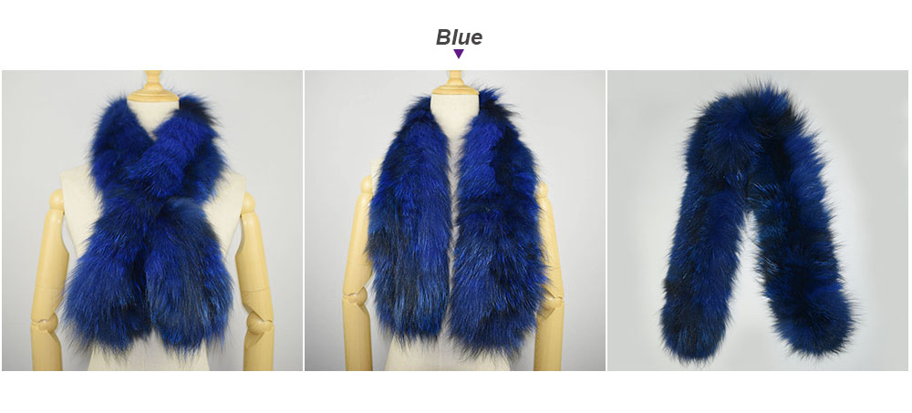 knit fox fur scarf color blue