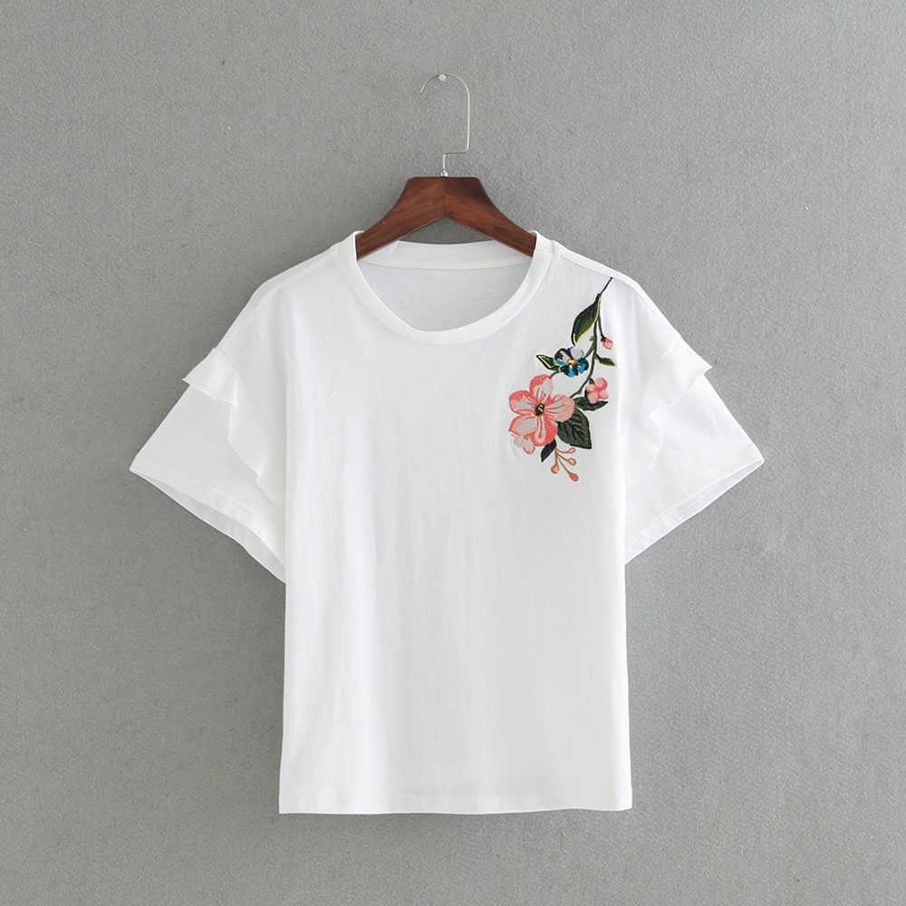 Design t shirt embroidery - New Design Summer Women S Brief T Shirt 2017 Fashion Floral Embroidery Round Neck Flounce Short Sleeve