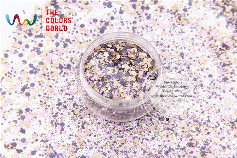 HH2104-216 Mix  Colors Hexagon Shape Glitter Sequins for nail art  DIY decoration and Holiday decorations