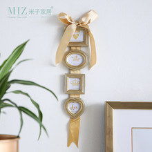 Miz Photo Frame Hanging Picture Frame Set 4 Boxes Photo Frames Wall Mounted Home Decoration Accessories Gold Color Frame(China)