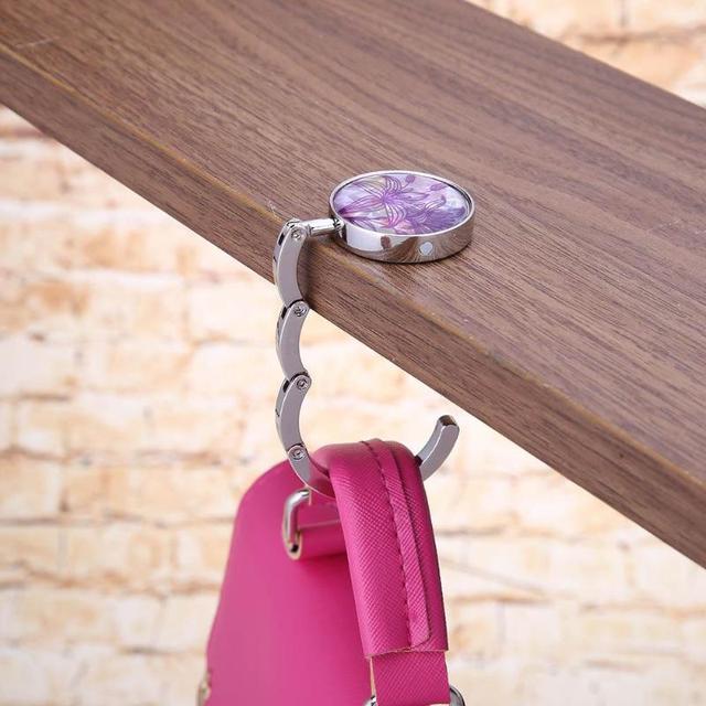 1pcs Foldable Hook Handbag Cloth Holder Handbag Desk Portable Hanger Multiple Bag Desk Hanger Foldable Purse Bag Hook Holder