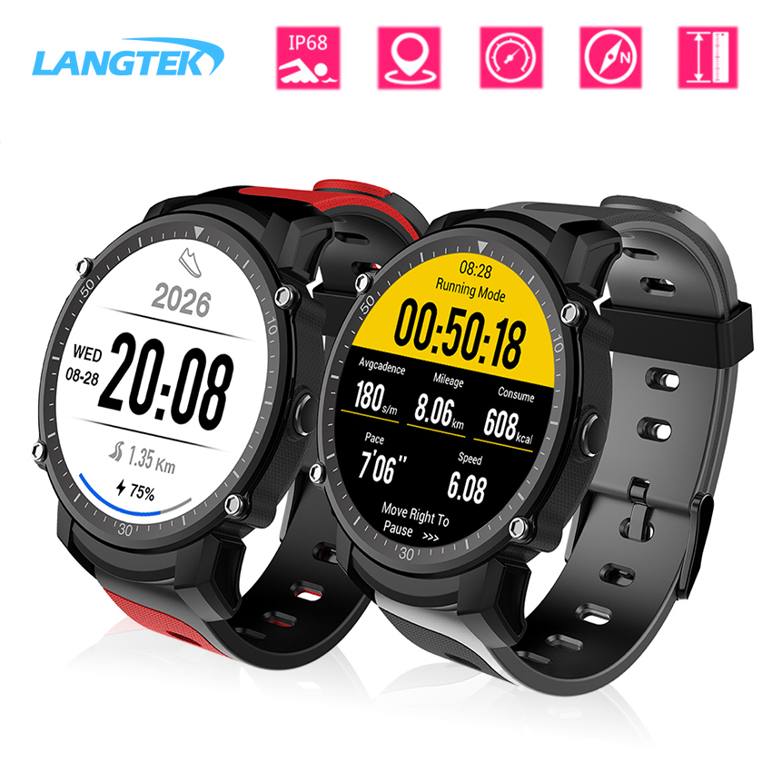 LANGTEK FS08 Bluetooth Smart Watch Waterproof IP68 Swim GPS Sports Wristwatch Fitness Tracker Stopwatch Heart Rate Monitor Clock fs08 gps smart watch mtk2503 ip68 waterproof bluetooth 4 0 heart rate fitness tracker multi mode sports monitoring smartwatch
