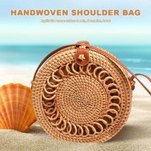 Rattan Braided Shoulder Bag Handwoven Round Handbag Beach Women Straw Basket Pouch Handbags Crossbody Messenger Bags