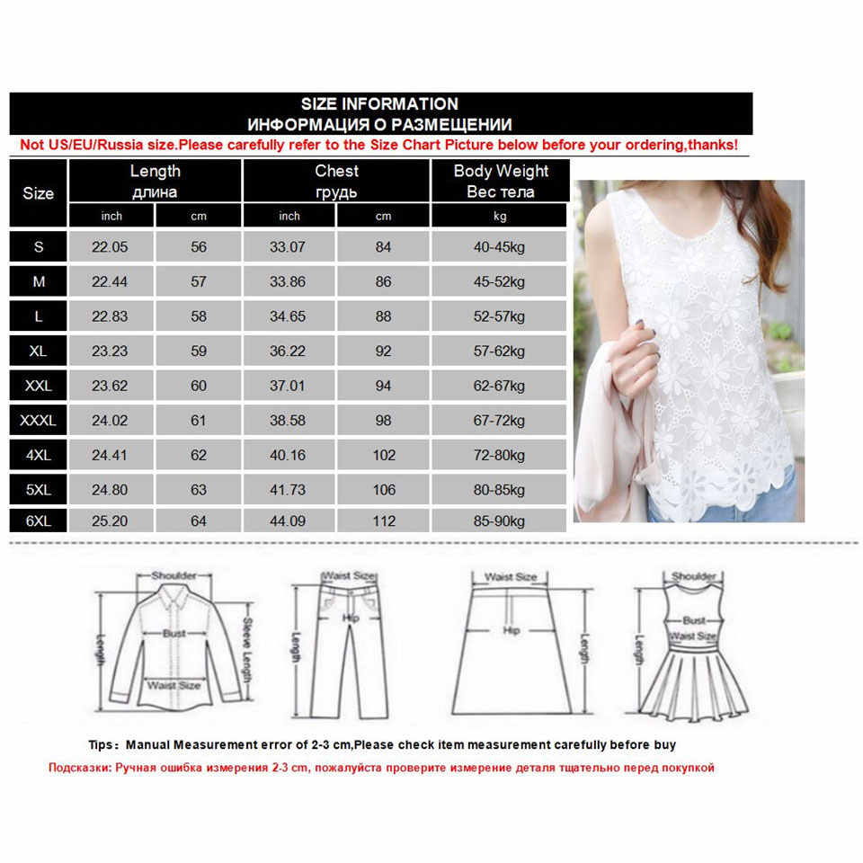 Nueva Blusa de gasa de verano 5XL con encaje para mujer 2019 Casual sin mangas camisas blancas sueltas de talla grande 6XL ropa femenina