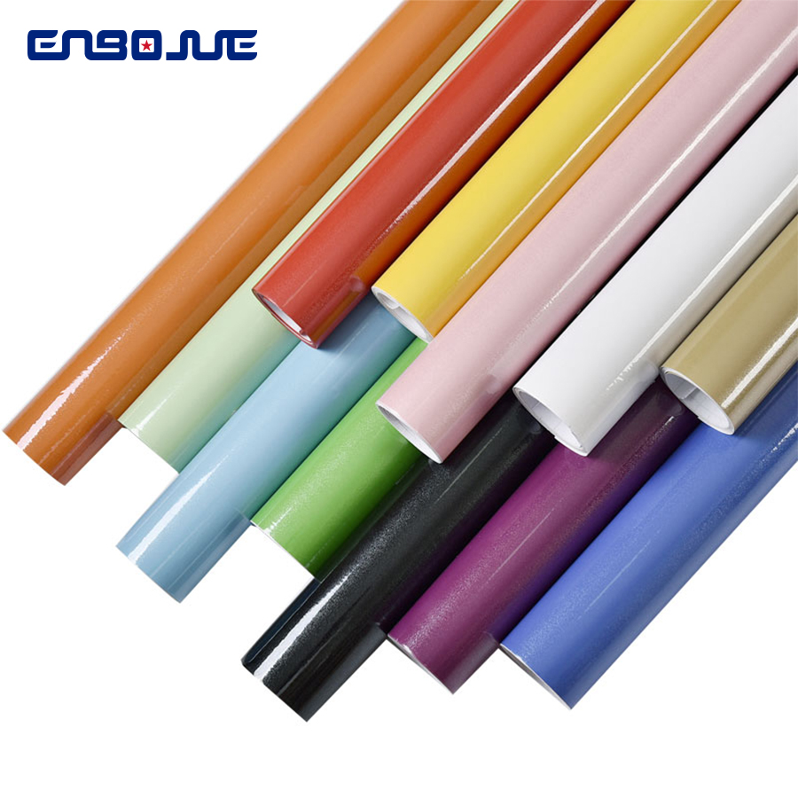 Image 3 - 0.4x5M Kitchen Cabinet Waterproof Stickers Furniture Wardrobe Table Door Self Adhesive Wallpaper Solid Color Paint Wall StickerWallpapers   -