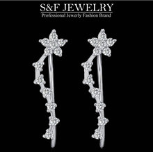 crystal from Swarovski sterling silver fashion long dangle earring for women jewelry best for wedding drop earrings 160