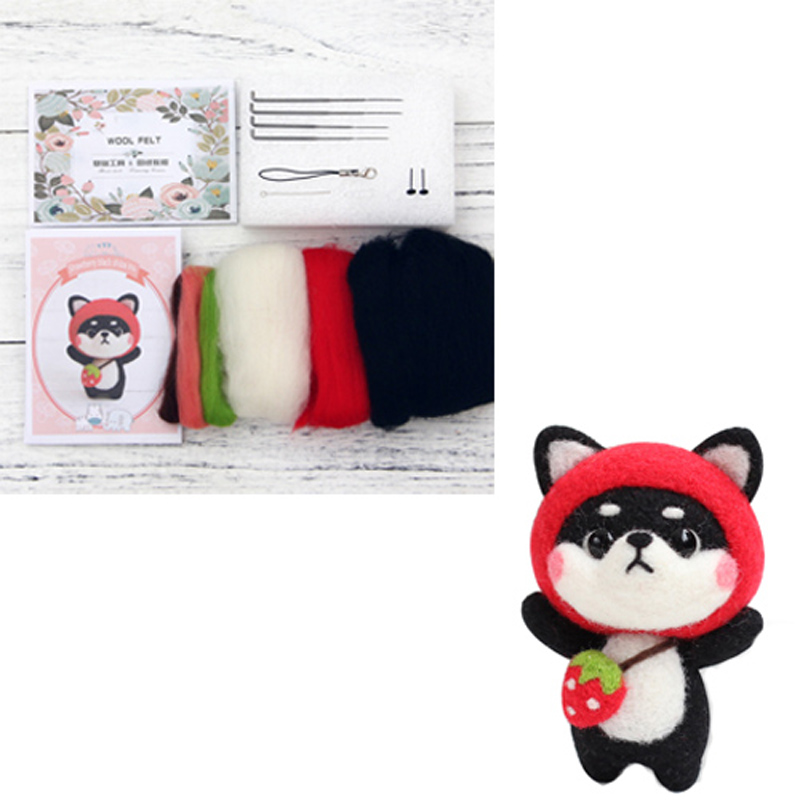 Doll Wool Felt Craft DIY Non Finished Poked Set Handcraft Kit for Needle Material Bag Pack