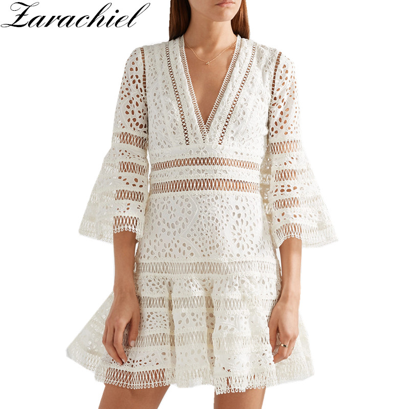 New Fashion 2019 Autumn Runway Dress Brand A Line Luxury Embroidery Dress Women s Flare Sleeve