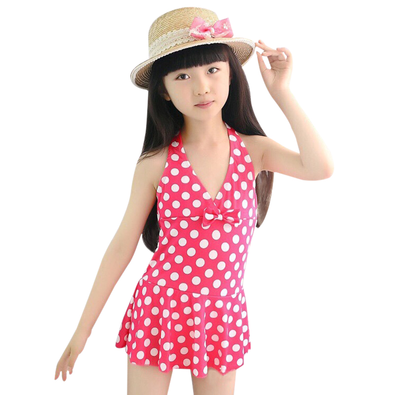 BONJEAN Lovely Girl Printing Polka Dot One Pieces Swimsuits Vest Skirt Set Thongs Beach Wear Swimwear Child Bow Costumi Da Bagno glasgow k girl in pieces