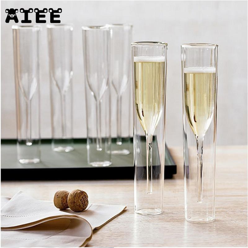 Doble pared vasos champán copa vino burbuja tulipán Wedding Party Cocktail taza tostado Bodum Thule Xicaras Copo