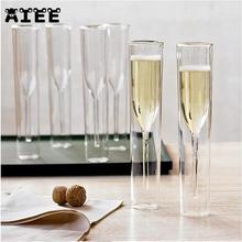 Двойными стенками Стекло es бокалы для шампанского Кубок пузырь вина тюльпан коктейльное Свадебная вечеринка Стекло чашки тостов Bodum Туле xicaras Copo