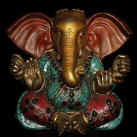 Collecting Old Tibet handmade pure copper inlaid Semi precious stones turquoise Ganesha sculpture/Elephant god statue