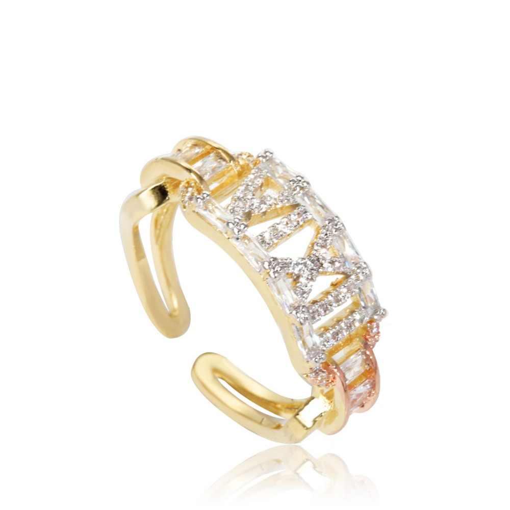 Dazz Luxury ที่ไม่ซ้ำกันหมายเลขแหวนกำไลข้อมือชุด Tricolor Zircon ทองแดงสร้อยข้อมือเจ้าสาวดูไบงานแต่งงานชุดเครื่องประดับของขวัญ