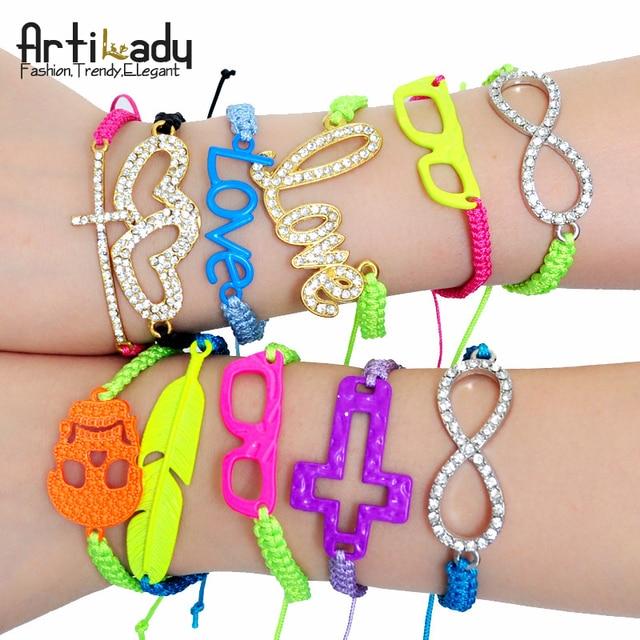 Artilady 2015 fashion wrap friendship stretch bracelet set stacking bracelets for women candy neon color jewelry 100styles