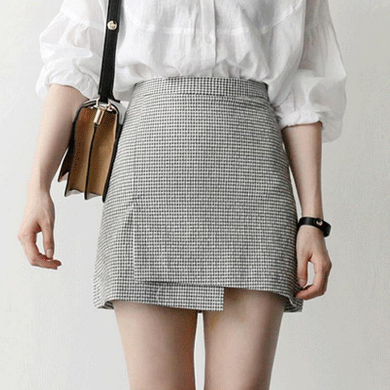 522a615a2fb0 Harajuku Skirts Women Stitched Plaid Pleated Skirt High Waist A-Line Mini  Skirt For Female Ladies Summer Fashion