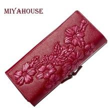 Moda feminina design em relevo carteiras femininas couro genuíno floral longo bolsas titular do cartão do sexo feminino carteira couro ferrolho embreagem