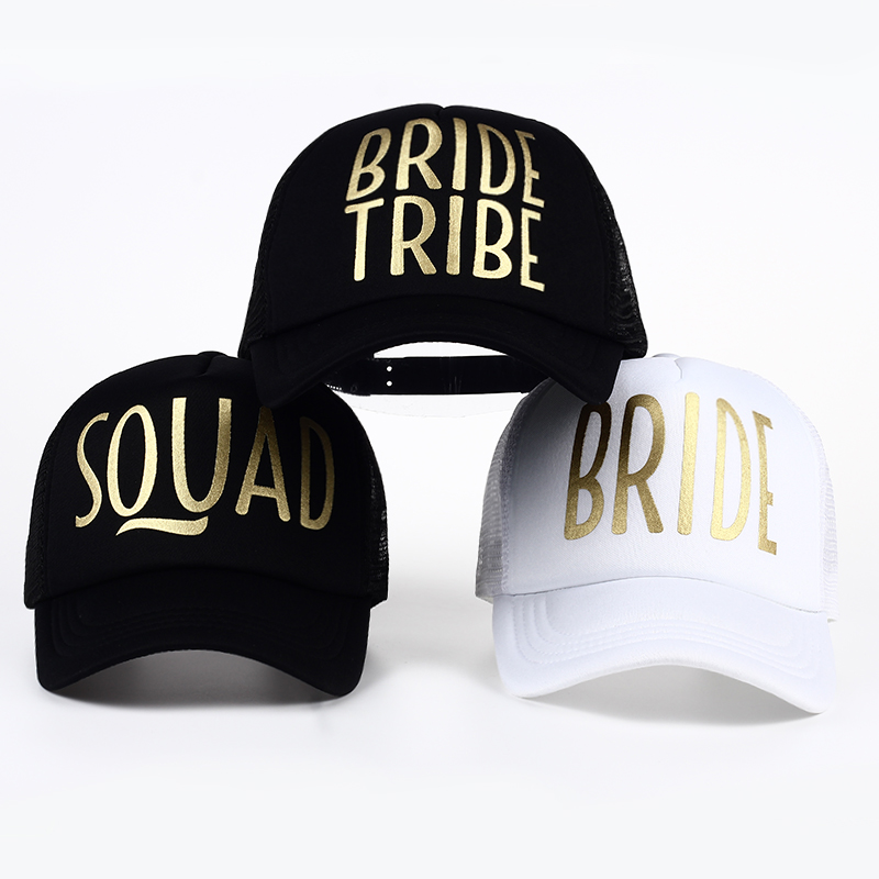 BRIDE Wedding Baseball Cap Gold Print Mesh Hat Women Party Brand Bachelor Club Team SQUAD TRIBE Snapback Caps Beach Casquette