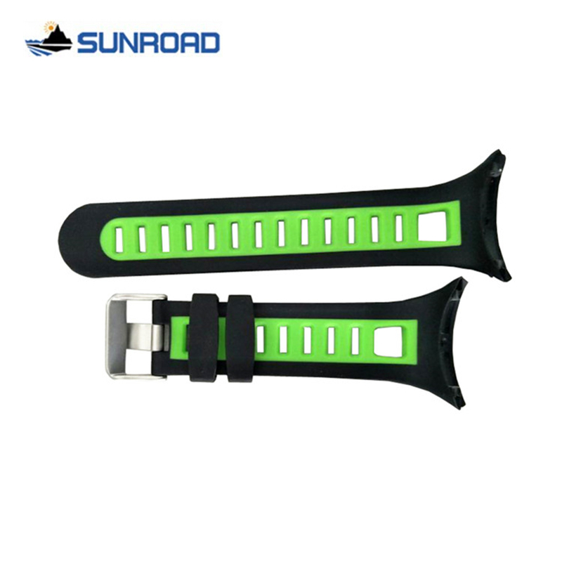 Original 22mm Black+Green / Yellow Silicone Rubber Watch Strap Waterproof Sports Watch Band For Wristwatch Sunroad FR800 & FR801 jansin 22mm watchband for garmin fenix 5 easy fit silicone replacement band sports silicone wristband for forerunner 935 gps
