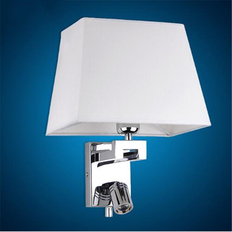 Modern Bedroom Decoration LED White Fabric Wall Lamp Living Room Aisle Lamp Hotel Room Light Cafe Decoration Lamp Free Shipping bjornled america wall sconce copper wall lamp 2 arm fabric shade light living room restaurant cafe bedroom hotel e14 led lamp