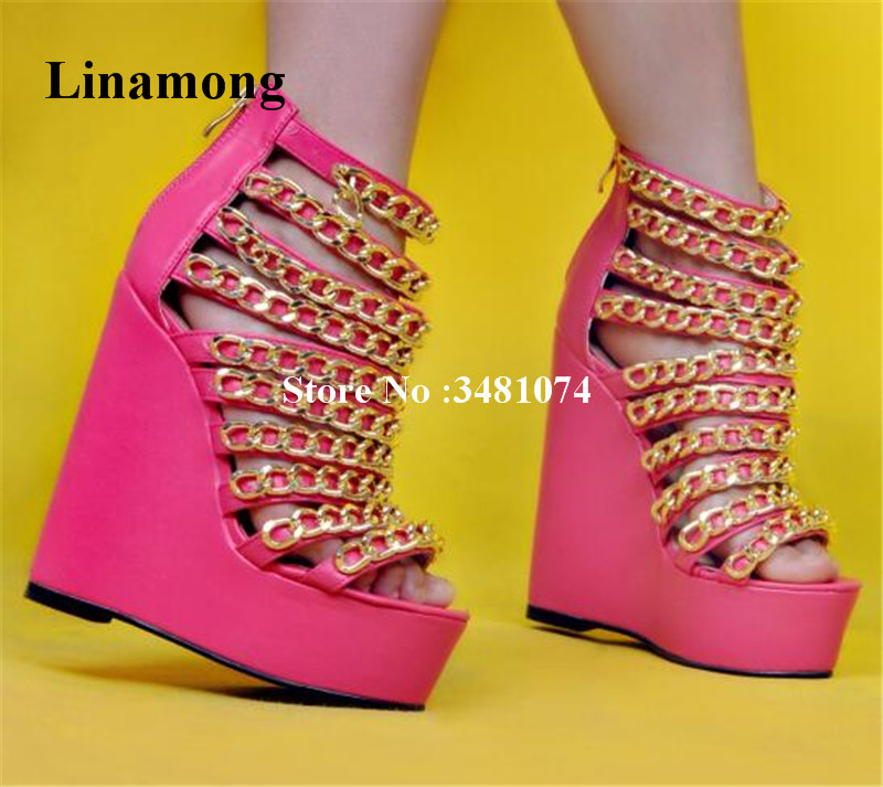 Summer Women Wedges Sandals Pointed  Chains  Narrow Band Solid Sandals 3-5 cm Platform Cover Heels Wedges Summer Women SandalsSummer Women Wedges Sandals Pointed  Chains  Narrow Band Solid Sandals 3-5 cm Platform Cover Heels Wedges Summer Women Sandals