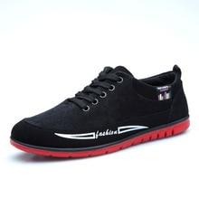 Spring/Autumn 2019 New Men Casual Shoes Oxfords Canvas Breathable Fashion Sneakers Lace-up Low-cut Men Shoes Plus Size 39-44