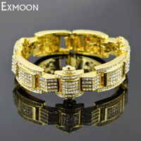 EX MOON Men Luxury Rhinestone Cuff Bracelets Fashion Top Quality Crystal Black Silver Color Charm Wide