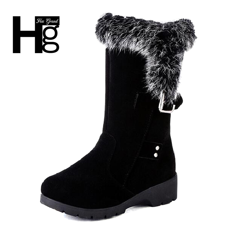 HEE GRAND High Quality Women Snow Boots Super Warm Platform Shoes with Rabbit Fur Warm Winter Lady Girl Black Shoes  XWX6197