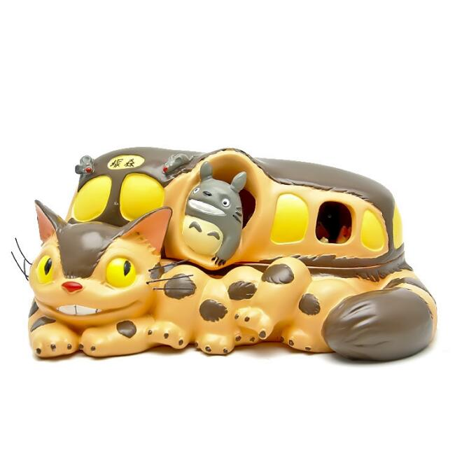 1Pcs Cute Hayao Miyazaki Totoro Cat Bus Open cover Figure Toy Big Bus Totoro Resin Action Figure Toys DIY Storage Box Kids Toy original totoro big cat bus miyazaki hayao ghibli cute stuffed animal plush toy doll birthday gift children boy girl gift