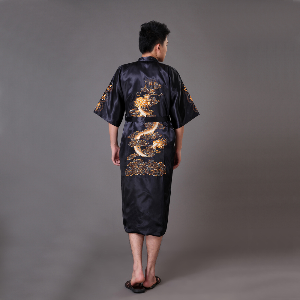 Black Chinese Men's  Embroidery Dragon Robe Nightgown Hot Sale Silk Satin Sleepwear Kimono Gown Size S M L XL XXL XXXL MR008