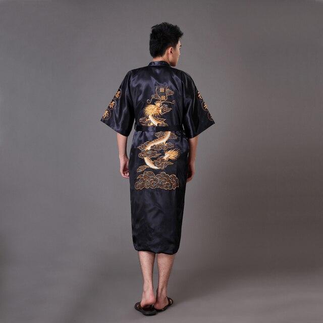 6d6900ca30 Black Chinese Men s Embroidery Dragon Robe Nightgown Hot Sale Silk Satin  Sleepwear Kimono Gown Size S M L XL XXL XXXL MR008