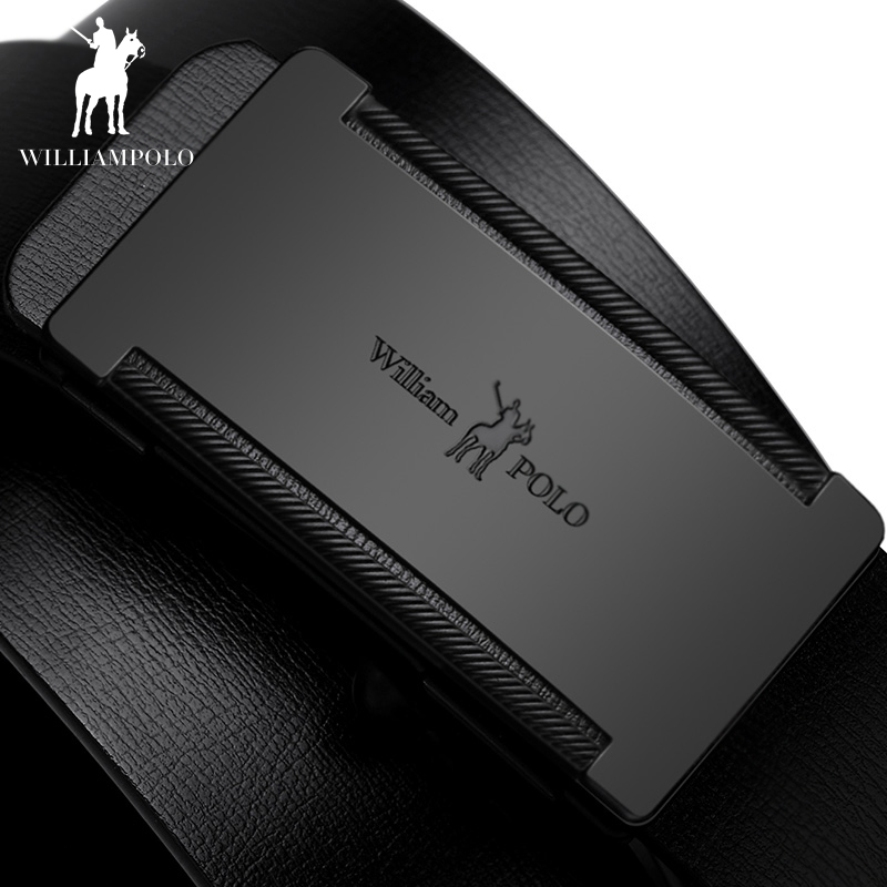 WILLIAMPOLO Slim Thin Belt Automatic Buckle Metal Fashion Men Real Leather Male Cowskin Belt Business Casual Gift for Husband-in Men's Belts from Apparel Accessories on AliExpress