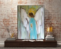 Free Shipping High Quality Hand Painted Modern Abstract Angel Painting Canvas Handmade Wall Art Decorative Christmas Oil Paints