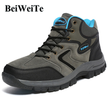 BeiWeiTe Winter Mens Big Size Hiking Boots High Top Antiskid Trail Trekking Sneakers Men Wearable Walking Hunting Outdoor Shoes