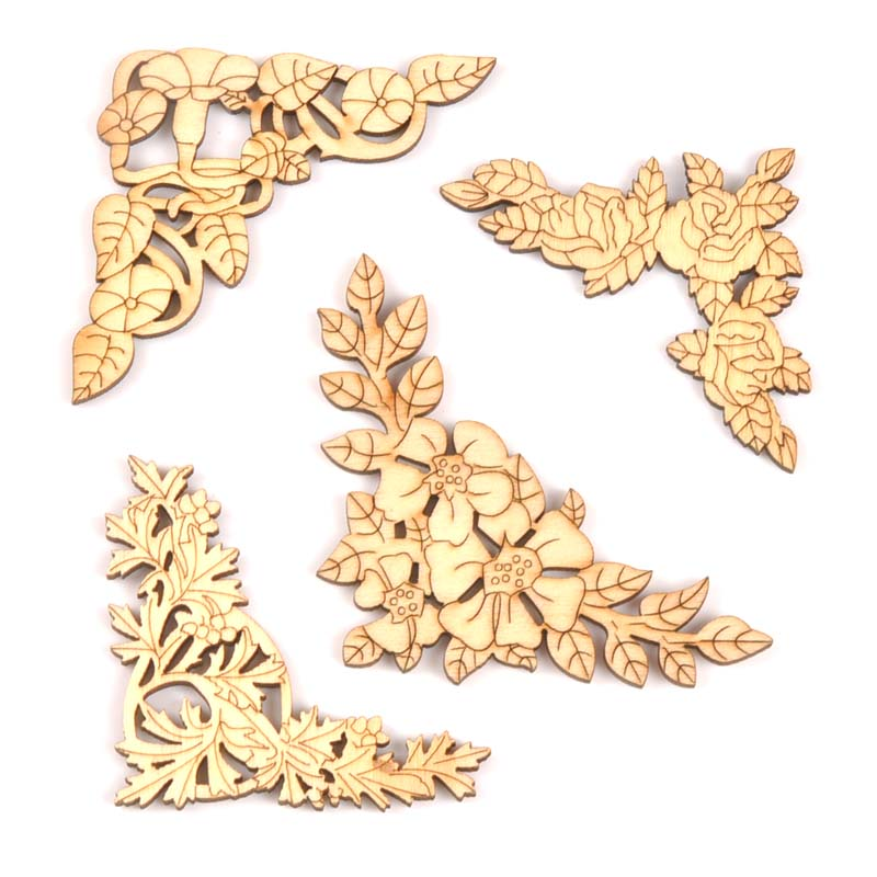 2018 New Flower Pattern 4pcs Wooden Book Corner Handmade Box Scrapbooking Album Corners Decorative Diy Craft 27x27mm MT1658