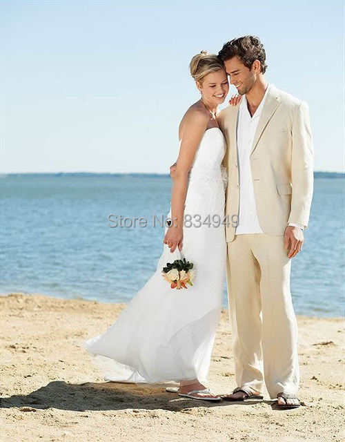 Aliexpress.com : Buy Ivory Linen Suits Beach Wedding Suits For Men ...