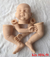 sleeping unpainted Reborn Doll Kits Artist Handmade Mould DK 50 for 22 inch Newborn Alive Soft Silicon Vinyl 3/4 Head Arms Legs
