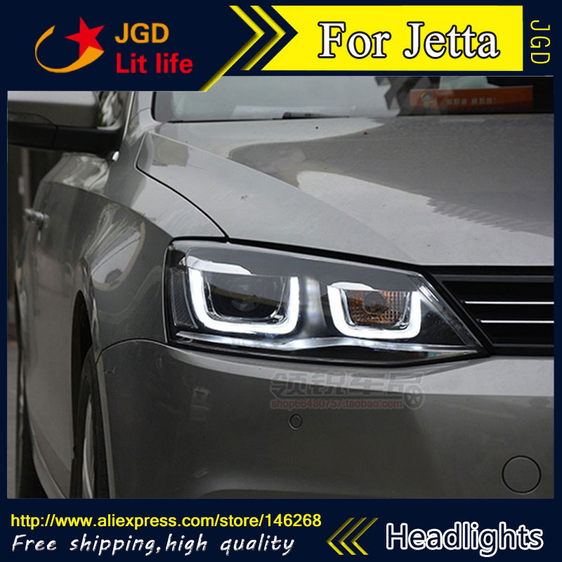 Free shipping ! Car styling LED HID Rio LED headlights Head Lamp case for VW Jetta 2012-2016 Bi-Xenon Lens low beam