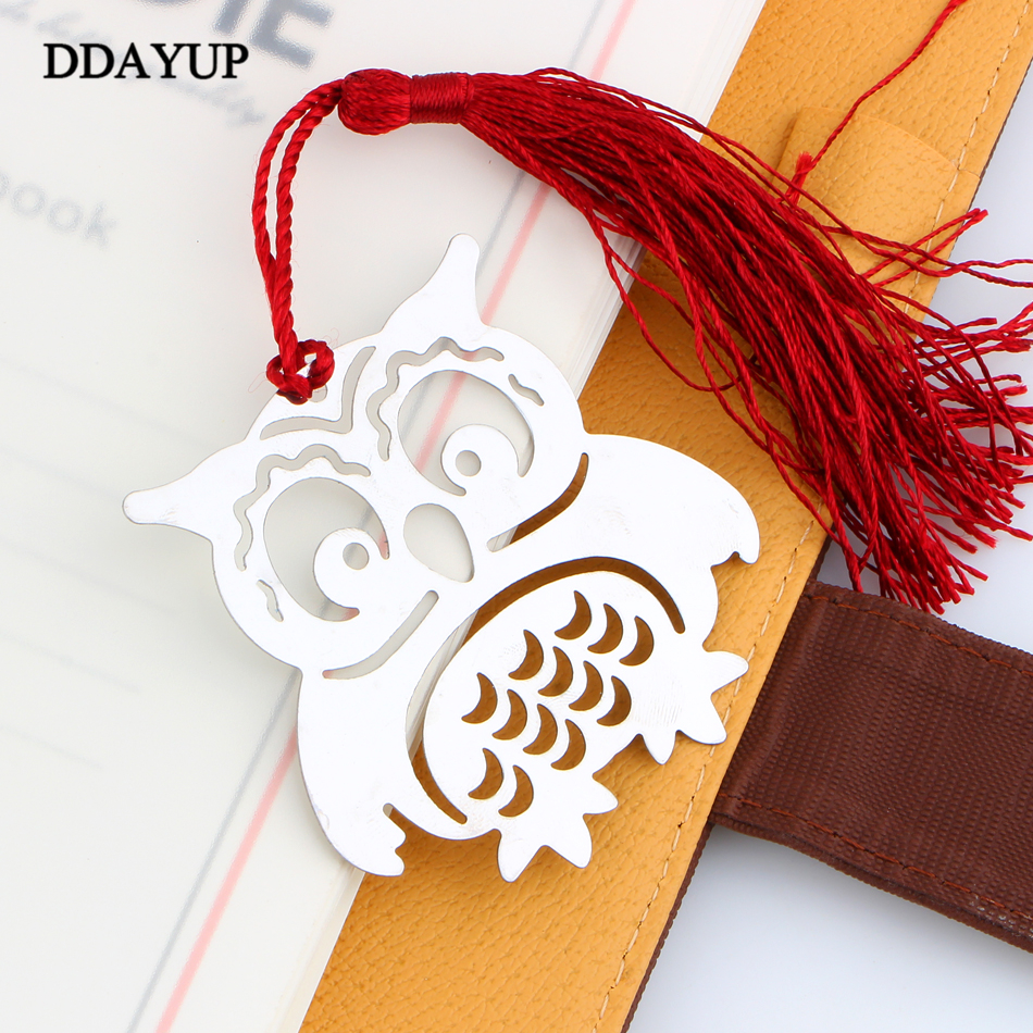 Hot Sale New Papeleria Owl Book Markers Birds With Tassels Metal Bookmark Memo Stationery Book Tags For Kids Gift