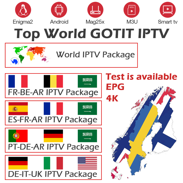 Gotit IPTV Subscription France Spain Belgium Portugal Germany Italy UK iptv m3u for Android tv box smart tv mag enigma2 IPTV box