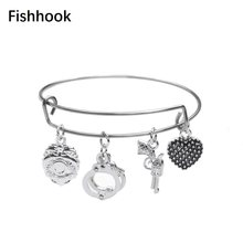 Fishhook DIY Special Scene Design Heart Shape Handcuffs Handgun Accessory Charms Trendy Particular Individuality Jewel Bracelet(China)