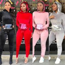 c042c655e22 2019 samt Zwei Stück Set Frauen Outfits Velours Trainingsanzug Lange  Hoodies Hülse Top + Hosen Schweiß