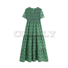 CUERLY women retro floral print patchwork maxi dress elastic O neck short sleeve back cut out design fashion long dresses QB850 все цены