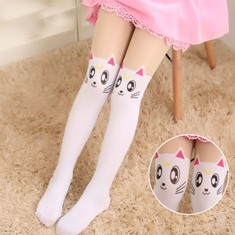 Summer Childrens Baby Kids Girls Thin Tights Cute Cat Pantyhose Knee Fake Tattoo Velvet Stocking white Cartoon