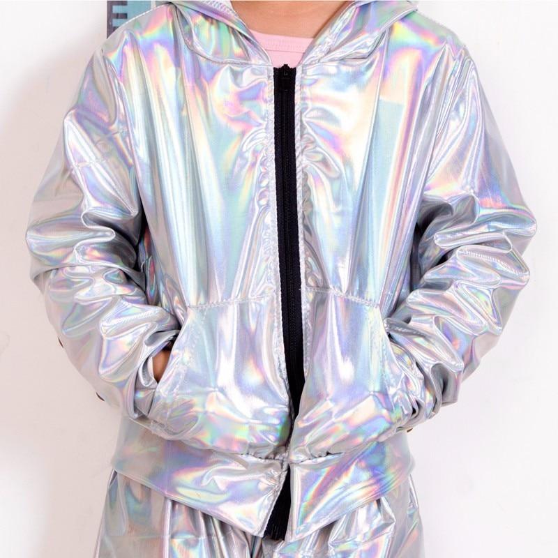 2021 New Spring Autumn Kids bomber Jacket Stage Performance Wear paillette feminina casaco Fluorescence Hip Hop dance coat 1