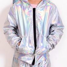 2018 nowa wiosna jesień dzieci bombowiec kurtka występ na scenie nosić błyskotka feminina casaco fluorescencji taniec hip hop płaszcz