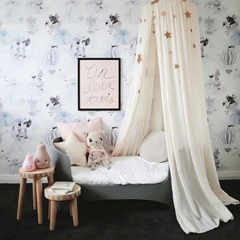 Mother & Kids Cotton Baby Room Decoration Mosquito Net Round Kids Dome Bed Canopy Mosquito Netting Curtain Cover Round Infant Crib Netting Street Price