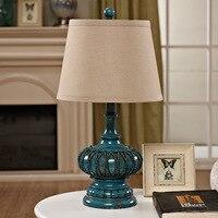 Туда Бесплатная доставка синий смолы настольная лампа ретро кантри Стиль настольная лампа льна Абажур Настольная лампа светодиодный свети