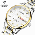 cadisen men watches 2016 top brand luxury Stainless steel automatic date watch The fashion leisure leather quartz watches