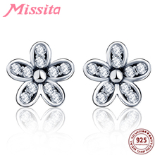 MISSITA 100% 925 Sterling Silver Cherry blossoms Earrings For Women Jewelry Brand Wedding Stud HOT SELL Gift